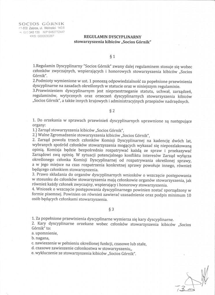 Regulamin Dyscyplinarny Socios 001